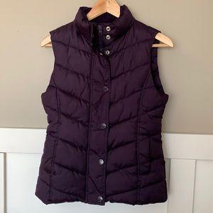GAP Women's Vest Eggplant Purple Zip Snap XS